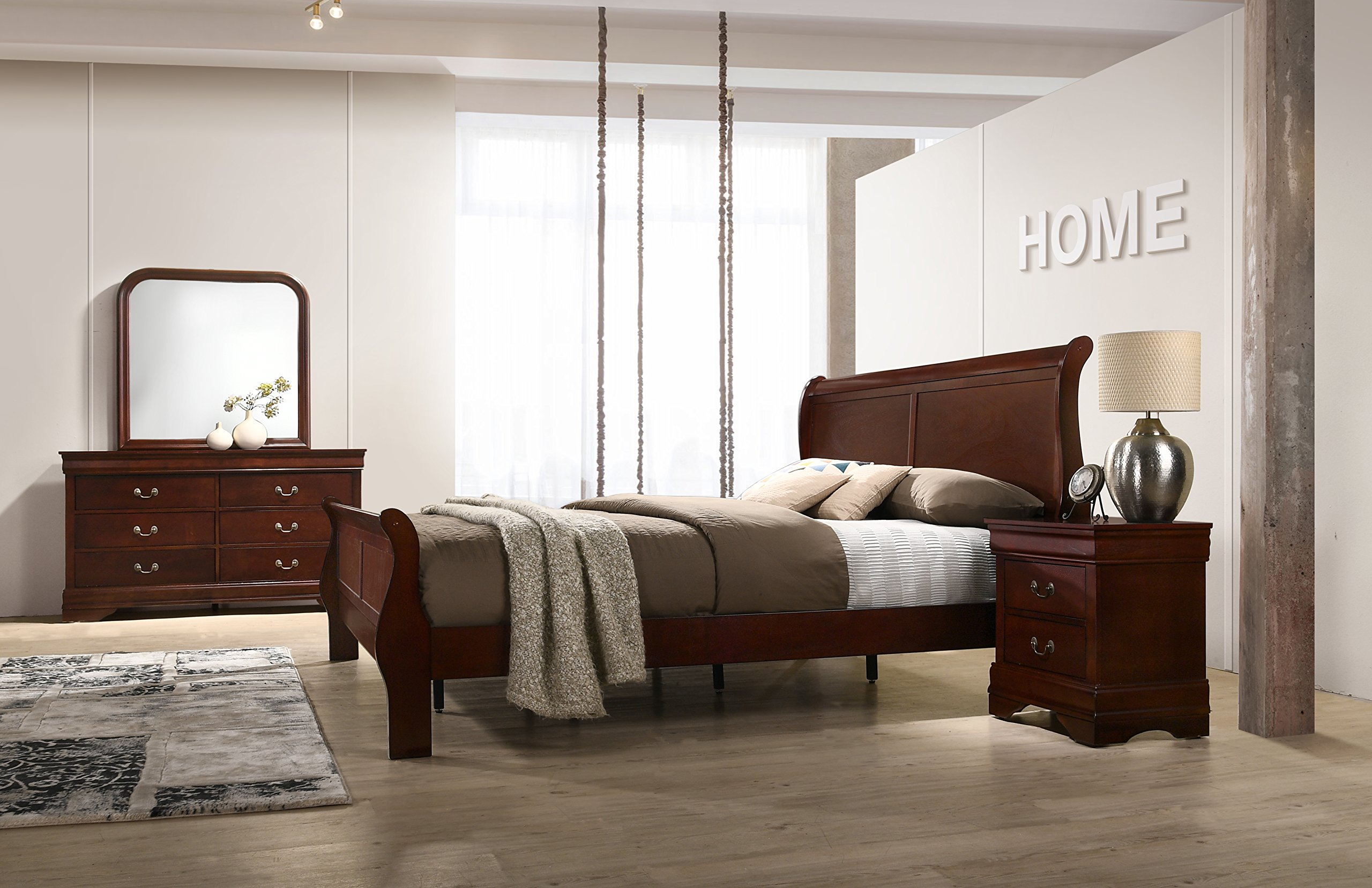 Roundhill Furniture Isola Louis Philippe Style Sleigh Bedroom Set, King Bed, Dresser, Mirror and Night Stand, Cherry Finish