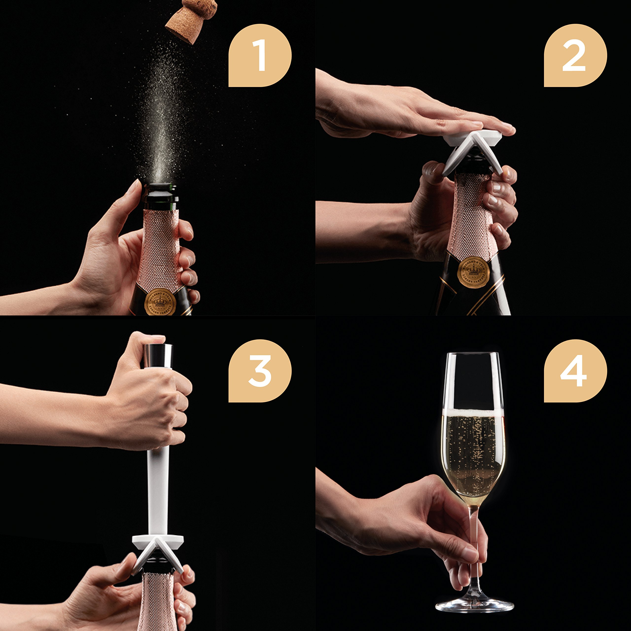 Champagne Preserver and Champagne Stopper by zzysh - Argon Gas/CO2 Champagne Saver - The Most Effective Way to Keep Sparkling Wine Fresh After it is Opened by zzysh (Image #3)
