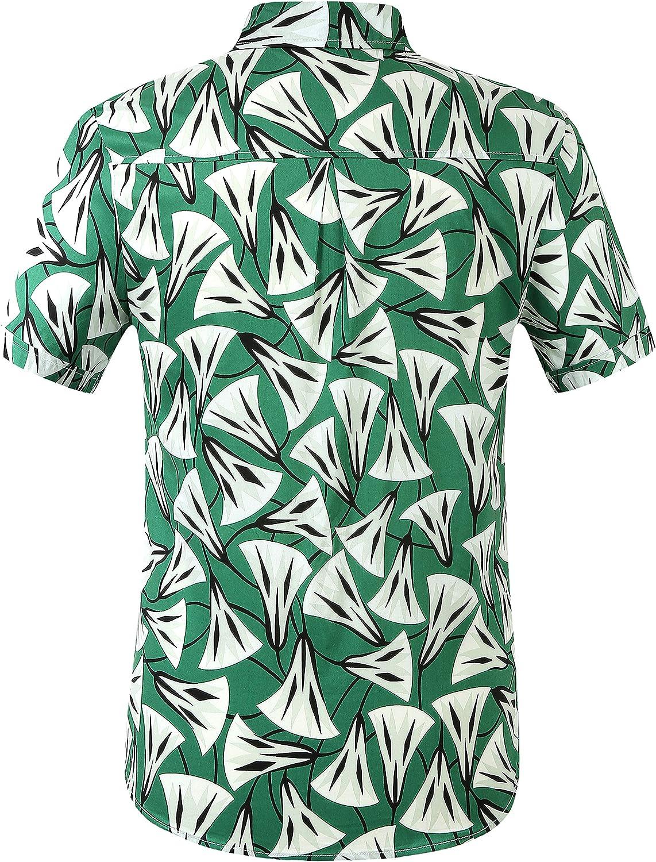 SSLR Mens Cotton Button Down Short Sleeve Hawaiian Shirt