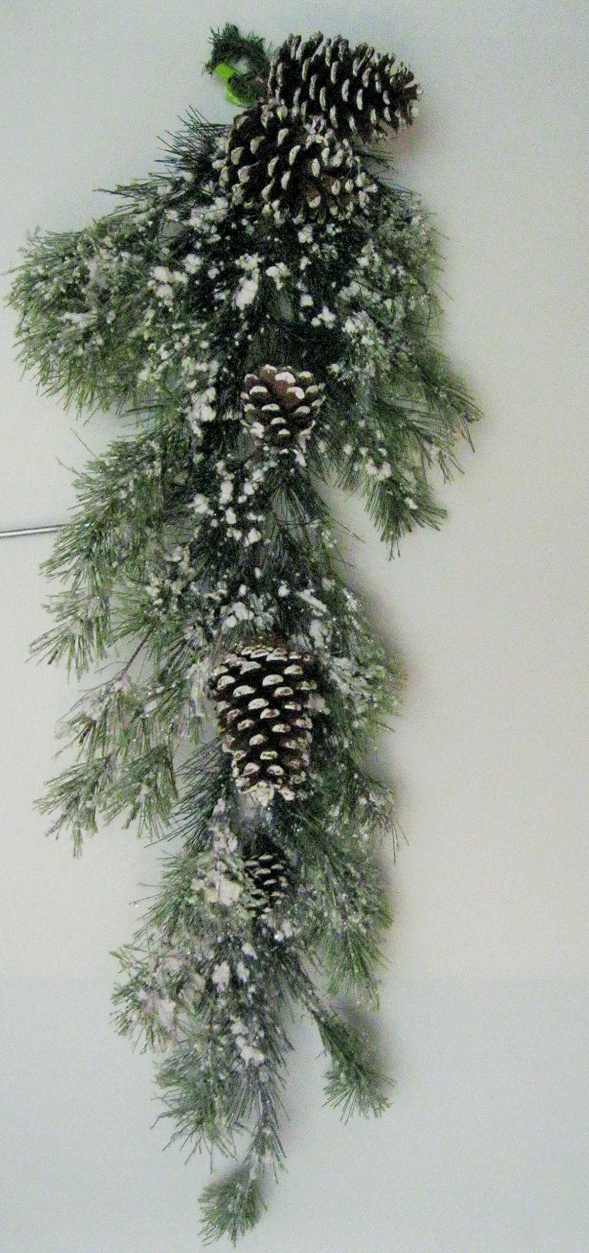 Snowville Pine Teardrop 30 in Accented with Snow Tips and Pinecones