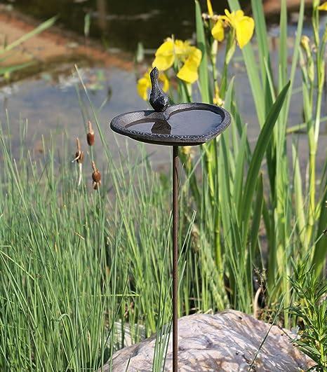 Vogeltränke Gußeisen Vogelbad Gartenstab Vogelbecken Futterstelle Garten Deko
