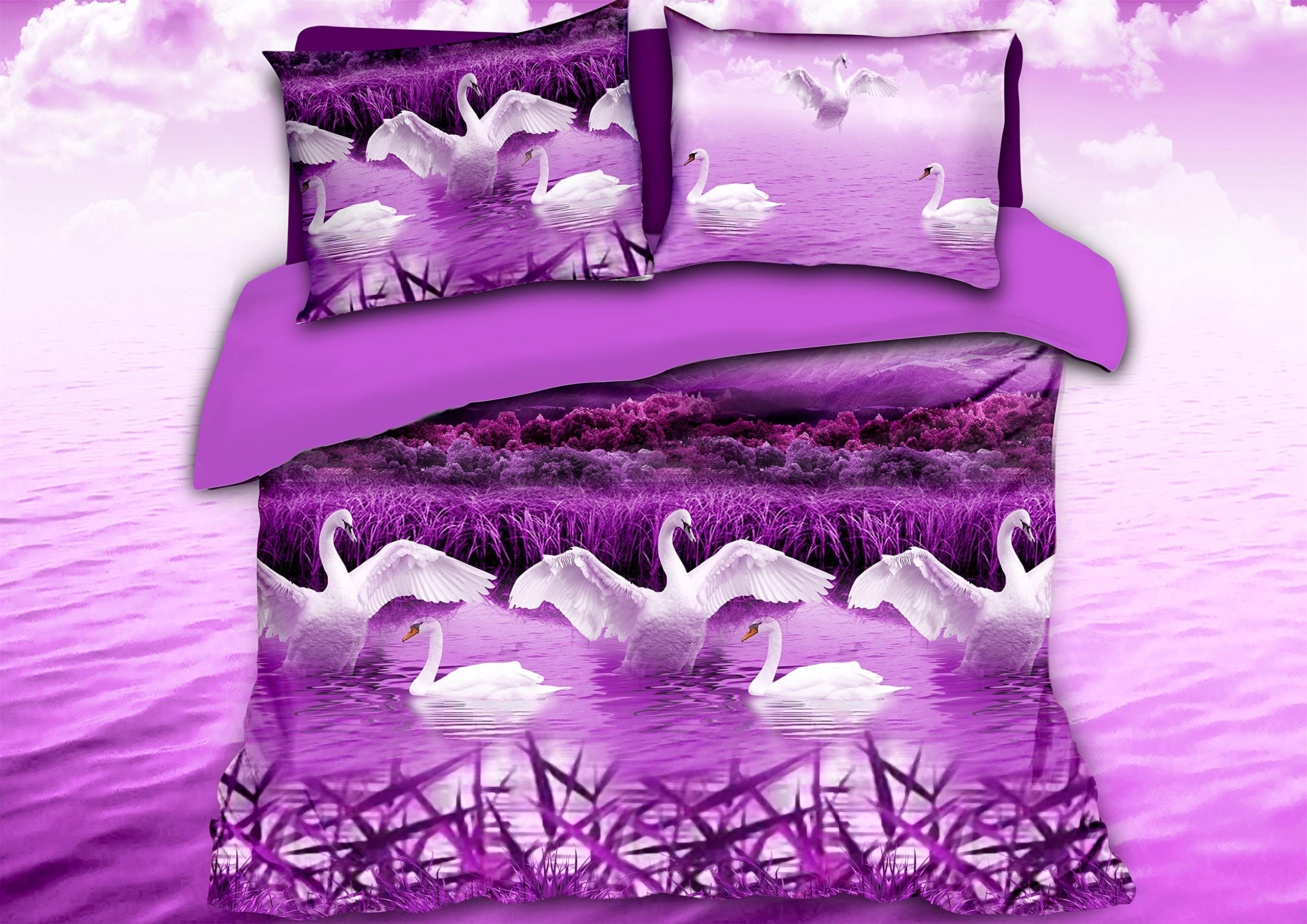 HIG Luxurious 3D Bed Sheet Set Wild Life Animals,Flowers and Scenery Print in Queen King Size (King, SWANPURPLE-Y38)