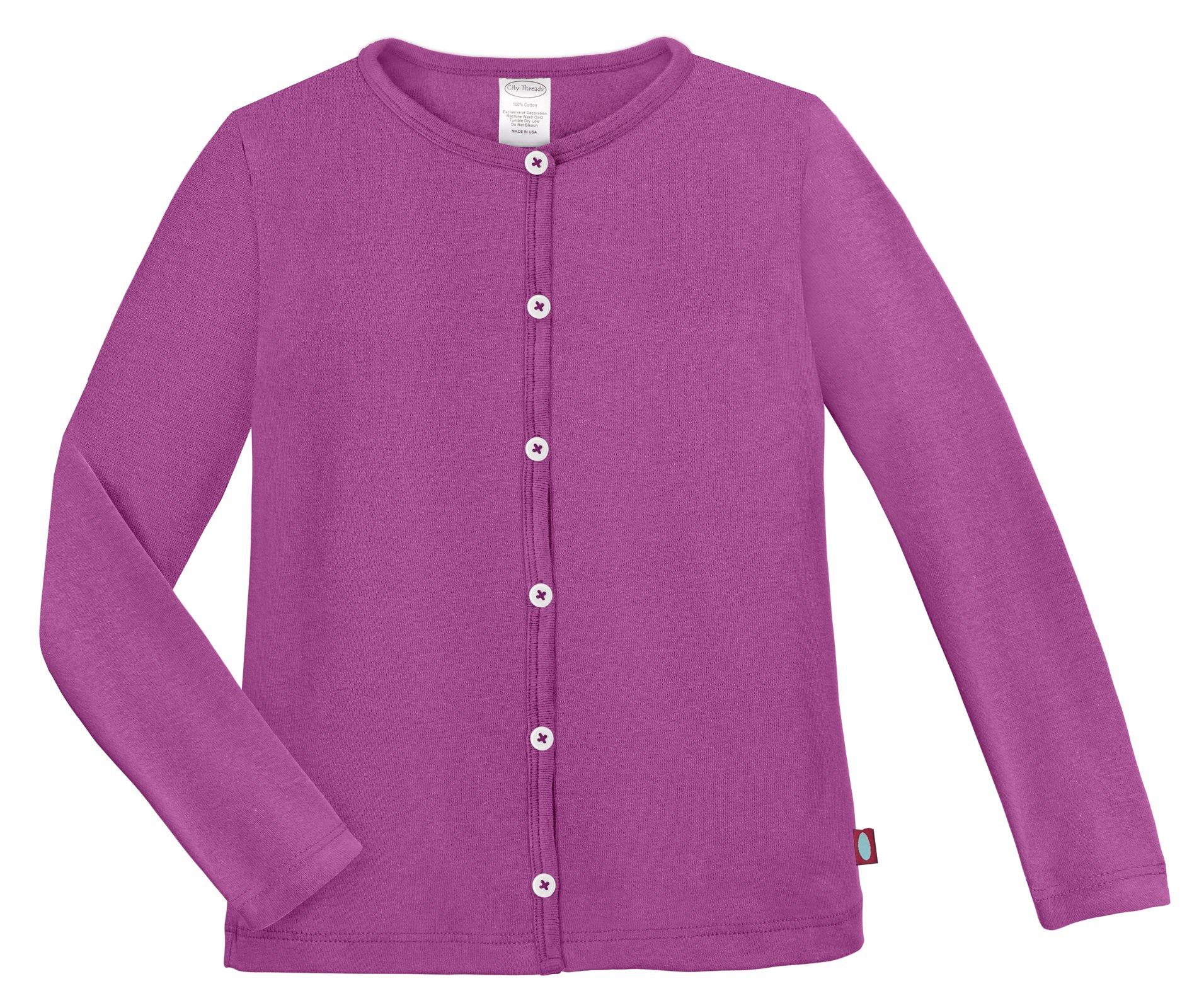 City Threads Girls Cardigan Top Button Down Sweater Layering School Play for Sensitive Skin SPD Sensory Friendly, Plum, 10