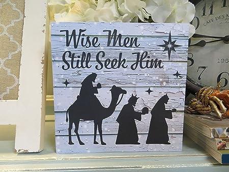 Cartel de Madera de Navidad con Texto en inglés Wise Men ...