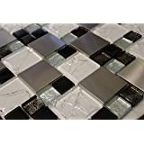 WS Tiles: Twilight Series Random Sized Glass and Aluminum in White, Backsplash, Mesh-Mounted Mosaic Tile for Kitchen & Bathroom - 12 in x 12 in x 8mm Sheet