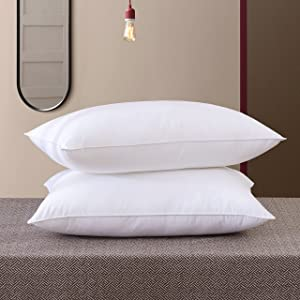 SNOWMAN Luxurious Natural Goose Down Feather Pillow Inserts,Bed Pillows for Sleeping,100%Cotton Fabric Cover,Pillows Queen Size Set of 2