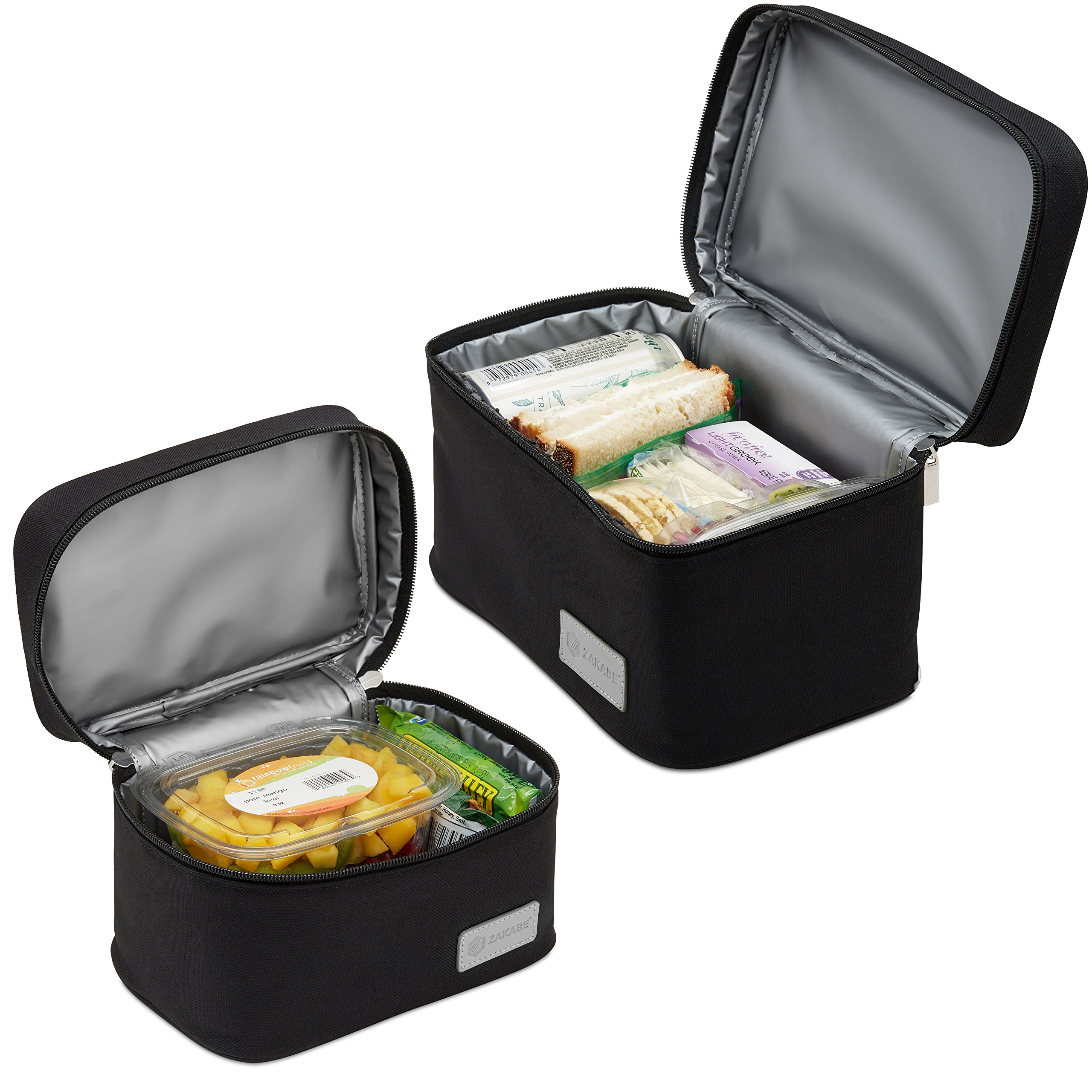 Zakabe Lunch Bag, Lunch Box, Cooler Bag, Set of 2 Sizes, Insulated, for Women, Kids, Adults, Men, Work or School - Black by Zakabe (Image #2)