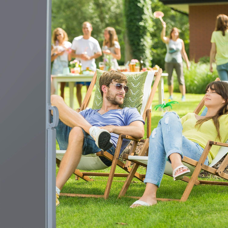 Protezione UV Relaxdays Tenda a Rullo Laterale Grigia Balcone LxP: 180x300 cm Terrazza Avvolgibile