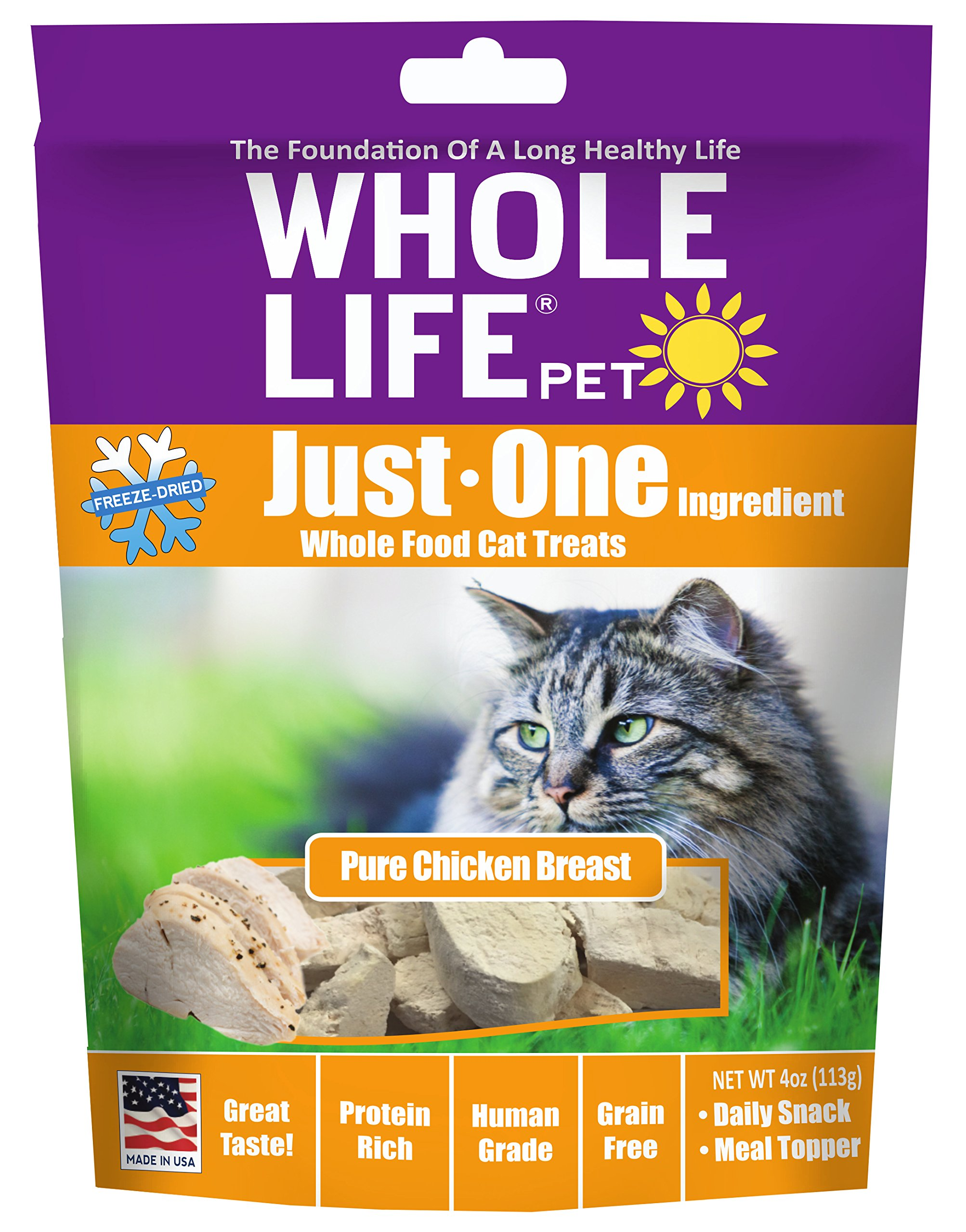Whole Life Pet Just One-Single Ingredient Freeze Dried Treats For Cats Pure Chicken Breast, 4Oz by Whole Life Pet Products