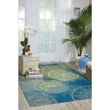 Nourison RS092 Home & Garden Global Medallion Indoor/Outdoor Area Rug,(5'3 x7'5 ), Blue