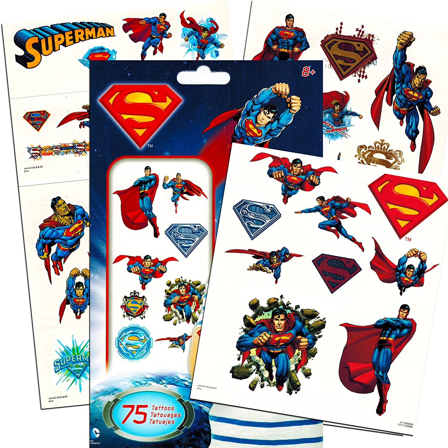 Superman Stickers /& Tattoos Party Favor Pack Bundle ~ 25 Jumbo Stickers /& 75 Temporary Tattoos Superman Party Supplies