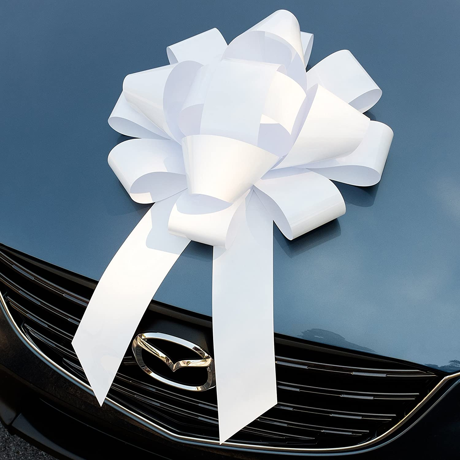 White Car Bow, Giant Magnetic Bows, Extra Large (22 Inch
