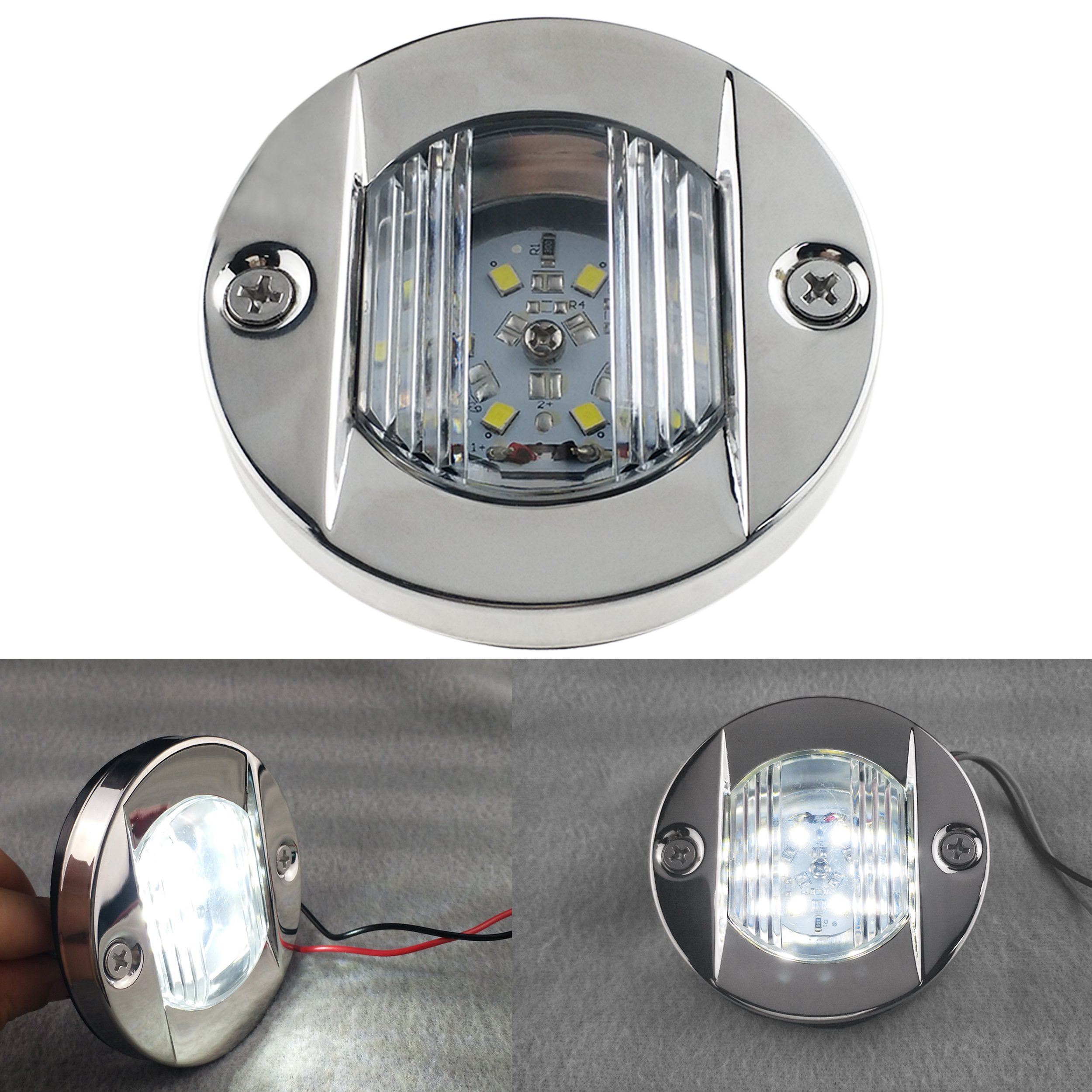 iztor 12V Marine Boat Yacht Transom Anchor Stern LED Navigation Light Lamp White 304 Stainless Steel Round