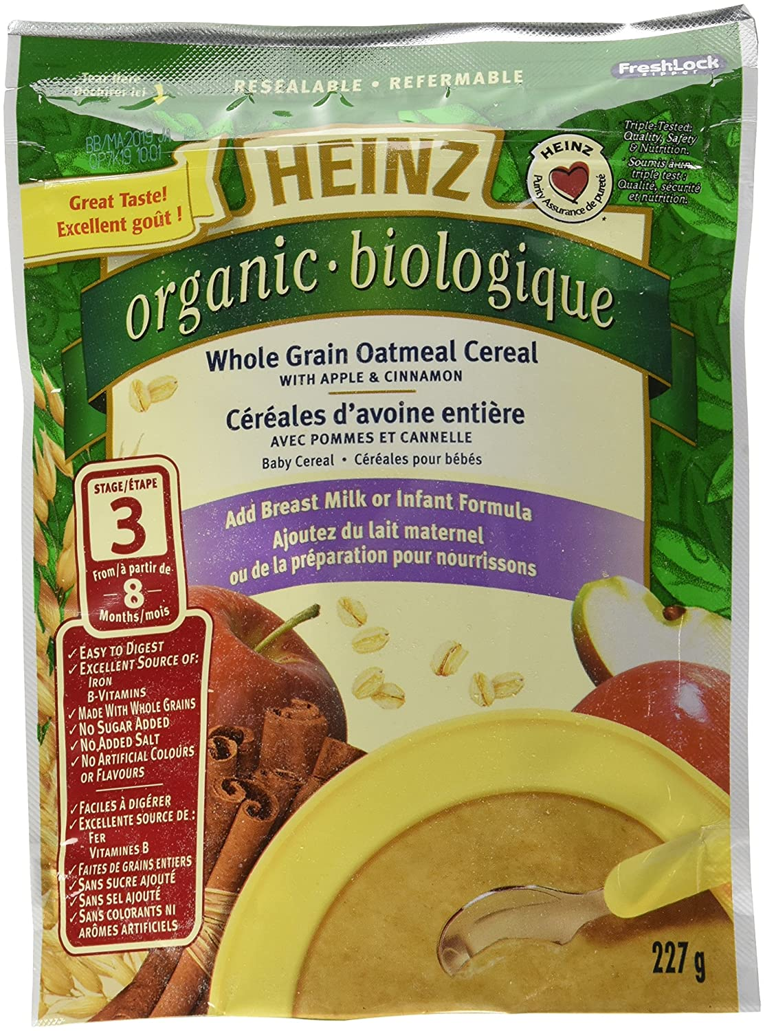 HEINZ Organic Whole Grain Oatmeal with Apple & Cinnamon - No Milk 227G x 6 Kraft Heinz Canada ULC