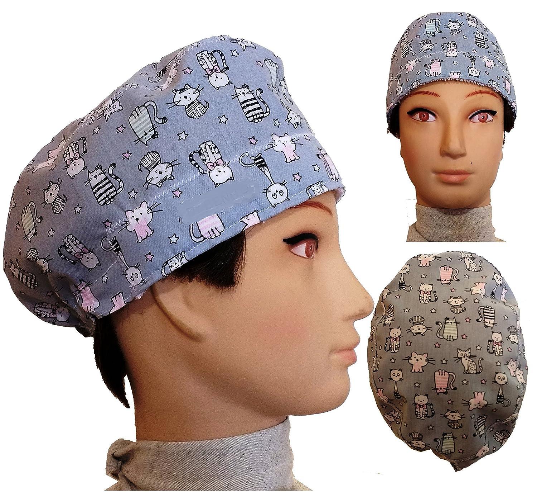 Gorro de quirófano GRIS GATITOS para pelo corto. Tipo hombre, cirujano, dentista, veterinaria, cocina, etc. Toalla en la frente, tensor ajustable en trasera