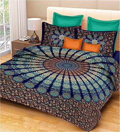 Tiger Exports 100% Cotton Mandala Print Traditional Queen Size Bedsheet with 2 Pillow Covers