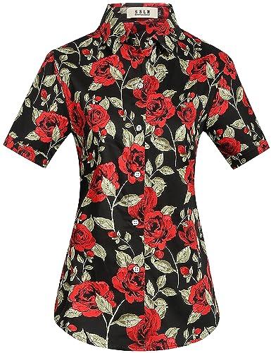 SSLR Camisa Mujer Hawaiana Manga Corta Casual Blusa Estampada Rosas