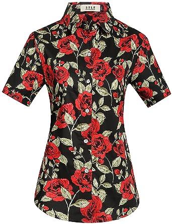 8ff15a65 SSLR Women's Floral Holiday Button Down Short Sleeve Hawaiian Shirt  (X-Small, Black