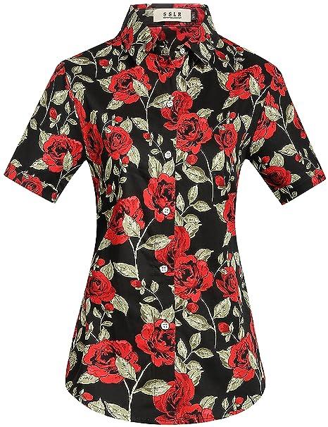 SSLR Camisa Mujer Hawaiana Manga Corta Casual Blusa Estampada Rosas (X-Small, Negro