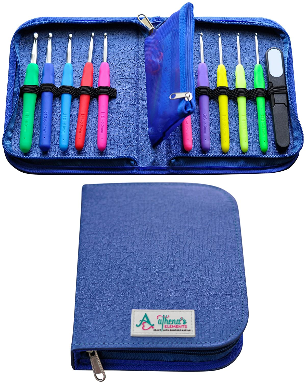 PREMIUM CROCHET HOOKS KIT & CASE With Removable Pocket - Ergonomic Soft Grip Handles For Extreme Comfort - 32 Crocheting Accessories & 10 USA Standard Hook Sizes Letters & Metric Prints D3.25mm ~ L8mm Athena's Elements 4336923036
