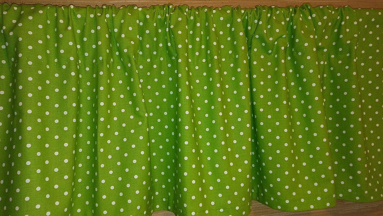 Valance Curtain - Lime Green (Chartreuse) and White Mini Polka Dot Pattern // 15'' (L) x 52'' (W) // Window Treatments, Topper, Kitchen, Nursery, Kids, Playroom, Classroom