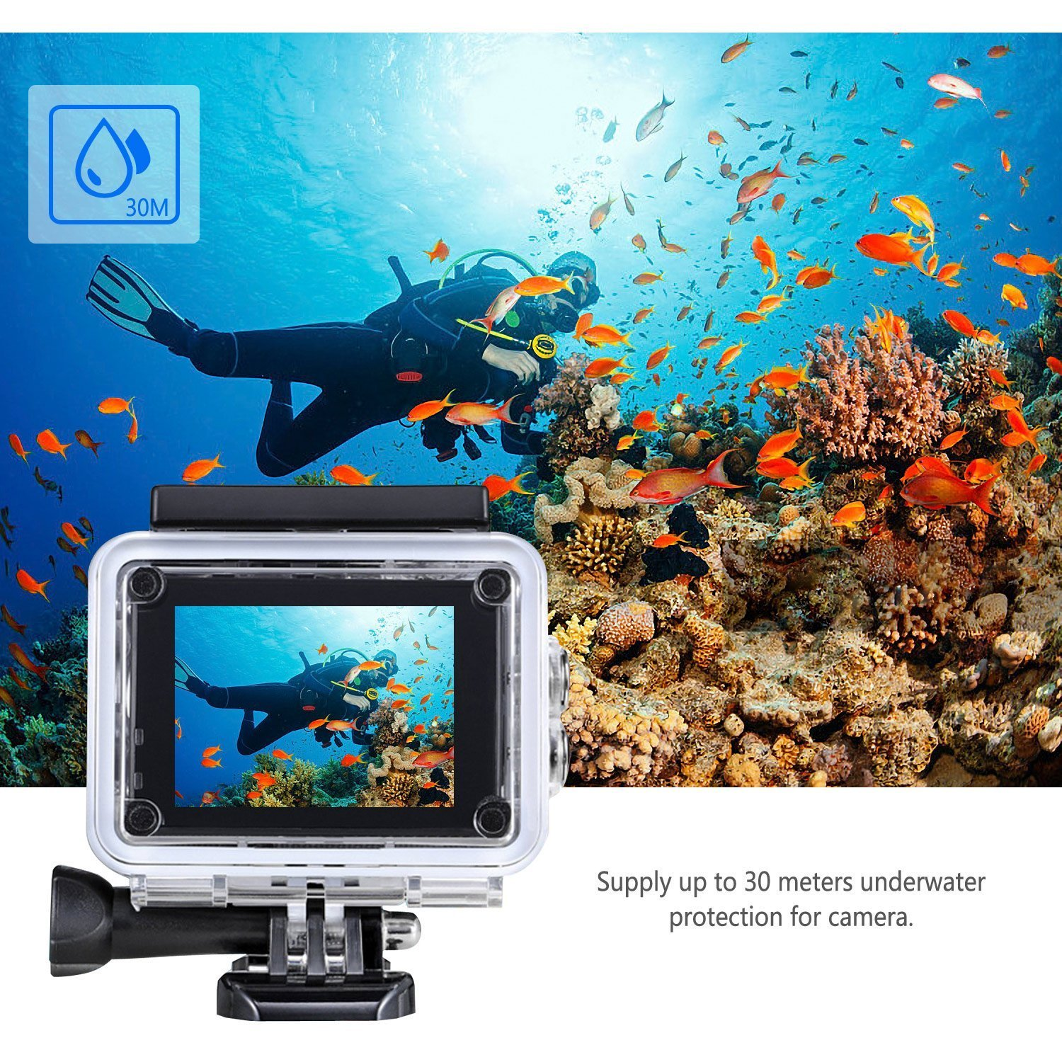 SSA 4K WIFI Sports Action Camera Ultra HD Waterproof DV Camcorder 12MP 170 Degree Wide Angle Include Waterproof Case 2pcs Batteries 1080P