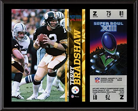 """07510fbf9dc Terry Bradshaw Pittsburgh Steelers 12"""" x 15"""" Super Bowl XIII Plaque  with Replica Ticket"""