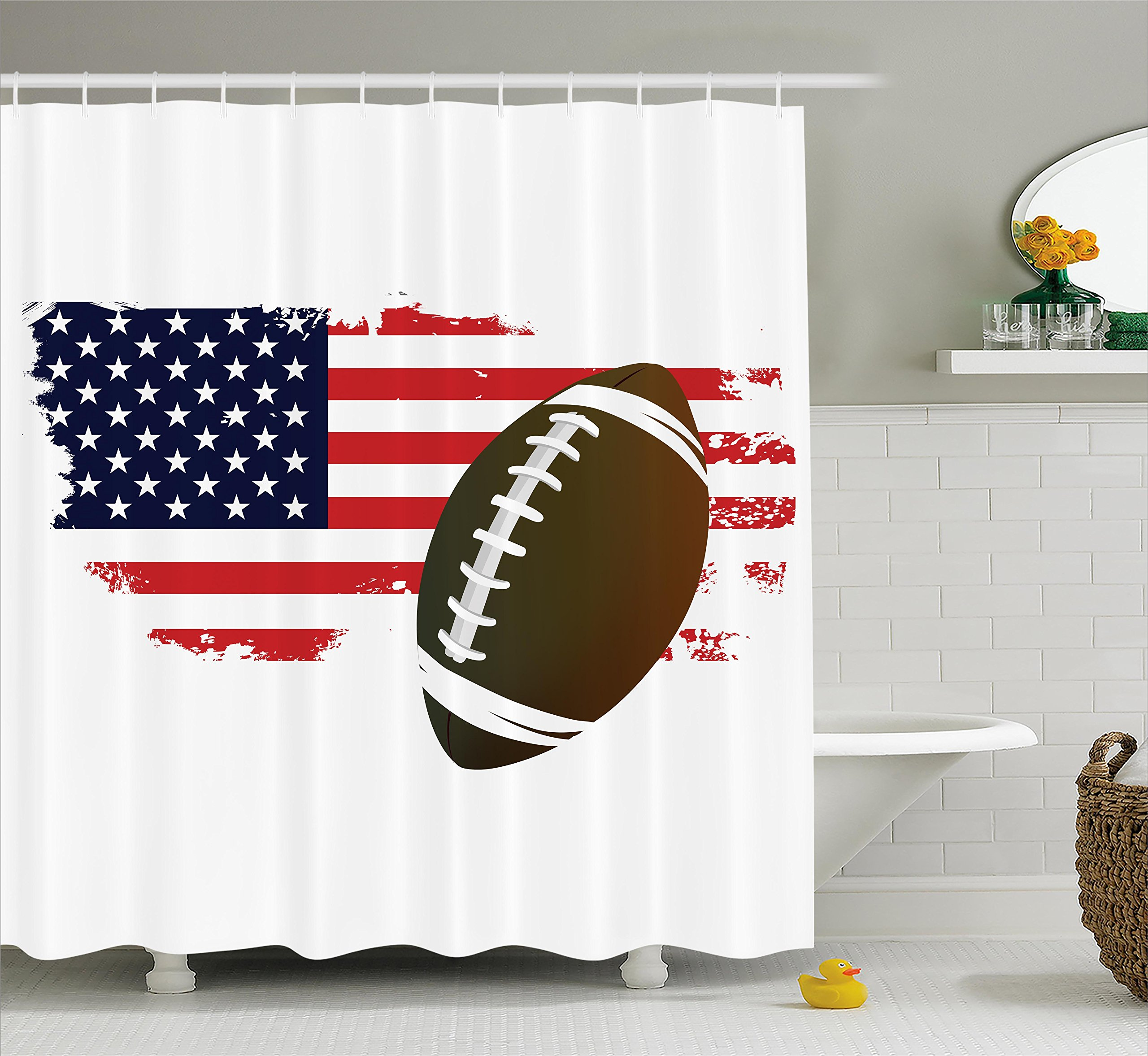 Ambesonne Sports Decor Collection, American Football Tradition Halftone Pattern of USA Flag Nation Tradition Image, Polyester Fabric Bathroom Shower Curtain Set with Hooks, Navy Red White Peru by Ambesonne (Image #1)