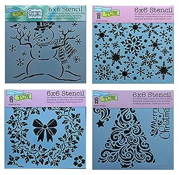 Amazon Com 4 Mixed Media Stencils Christmas Tree Snowman