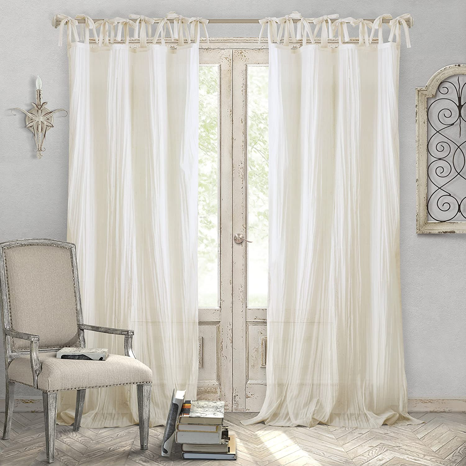 "Elrene Home Fashions Crushed Semi-Sheer Adjustable Tie Top Single Panel Window Curtain Drape, 52"" x 84"" (1, Ivory"