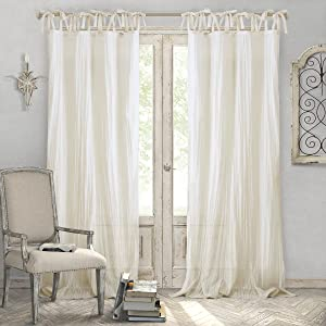 "Elrene Home Fashions Crushed Semi-Sheer Adjustable Tie Top Single Panel Window Curtain Drape, 52"" x 95"" (1), Ivory"