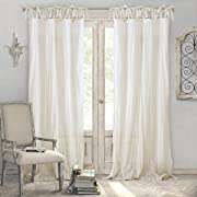 Elrene Home Fashions Crushed Semi-Sheer Adjustable Tie Top Single Panel Window Curtain Drape, 52  x 95  (1), Ivory
