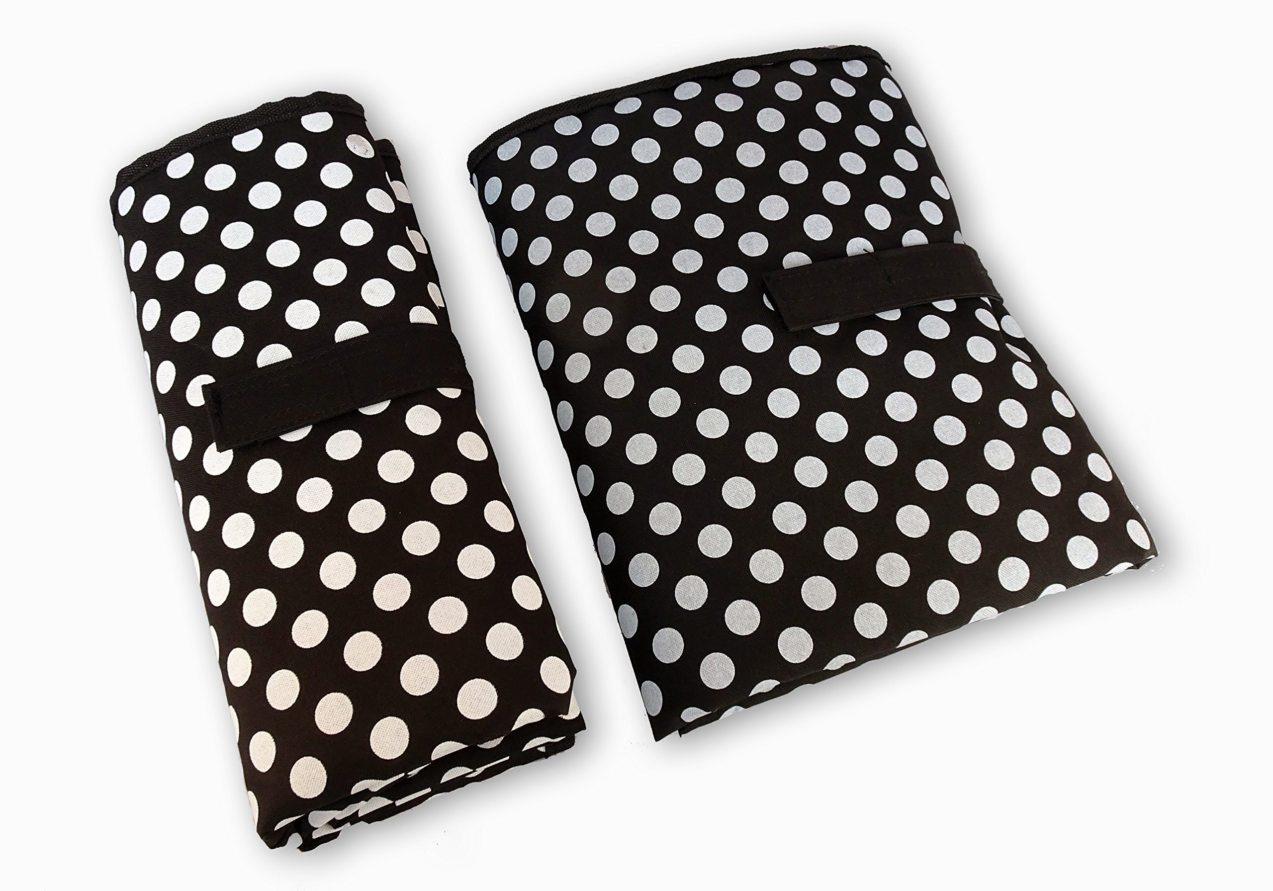 Waterproof Baby Diaper Changing Mat - One Hand Fold Grab & Go, Easy to Use, Large, Portable, Padded, Wipe Clean Travel Change Station Pad (Black with White Dots) by Contented Infant
