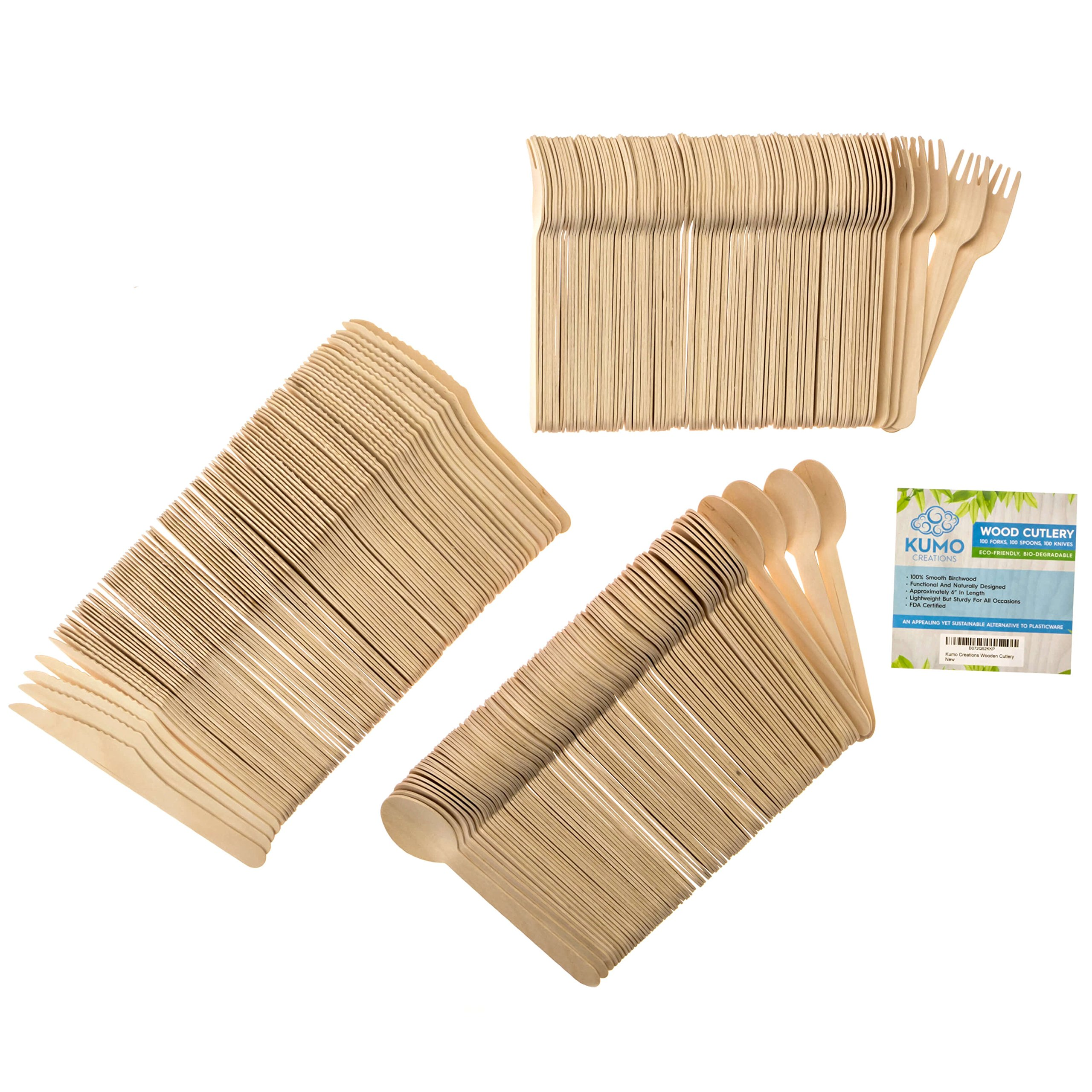 """Wooden Disposable Cutlery Combo Set – 300 pc - 100 Forks, 100 Spoons, 100 Knives, 6"""" Utensils - Eco Friendly, Biodegradable, Compostable – Parties, Weddings, Gatherings – FORGET Plastic, GO GREEN! by KUMO Creations (Image #2)"""