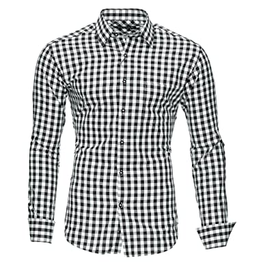 e4844530145c Kayhan Men´s Long Sleeve Casual Shirt Slim fit Easy Iron Modell -Checked  Oktoberfest  Amazon.co.uk  Clothing