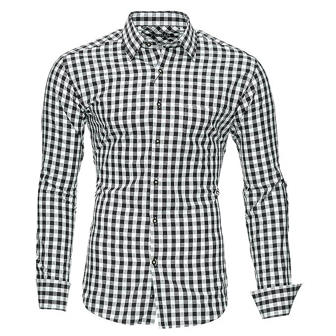 7b0cf5a6aa38 Kayhan Originale Uomo Camicia Slim Fit Facile Stiro Cotone Maniche Lungo S  M L XL XXL 2XL -Modello Quadri: Amazon.it: Abbigliamento