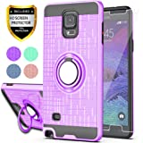 Note 4 case Galaxy Note 4 Case with HD Screen Protector,Ymhxcy 360 Degree Rotating Ring & Bracket Rubber Dual Layer Shock Bum