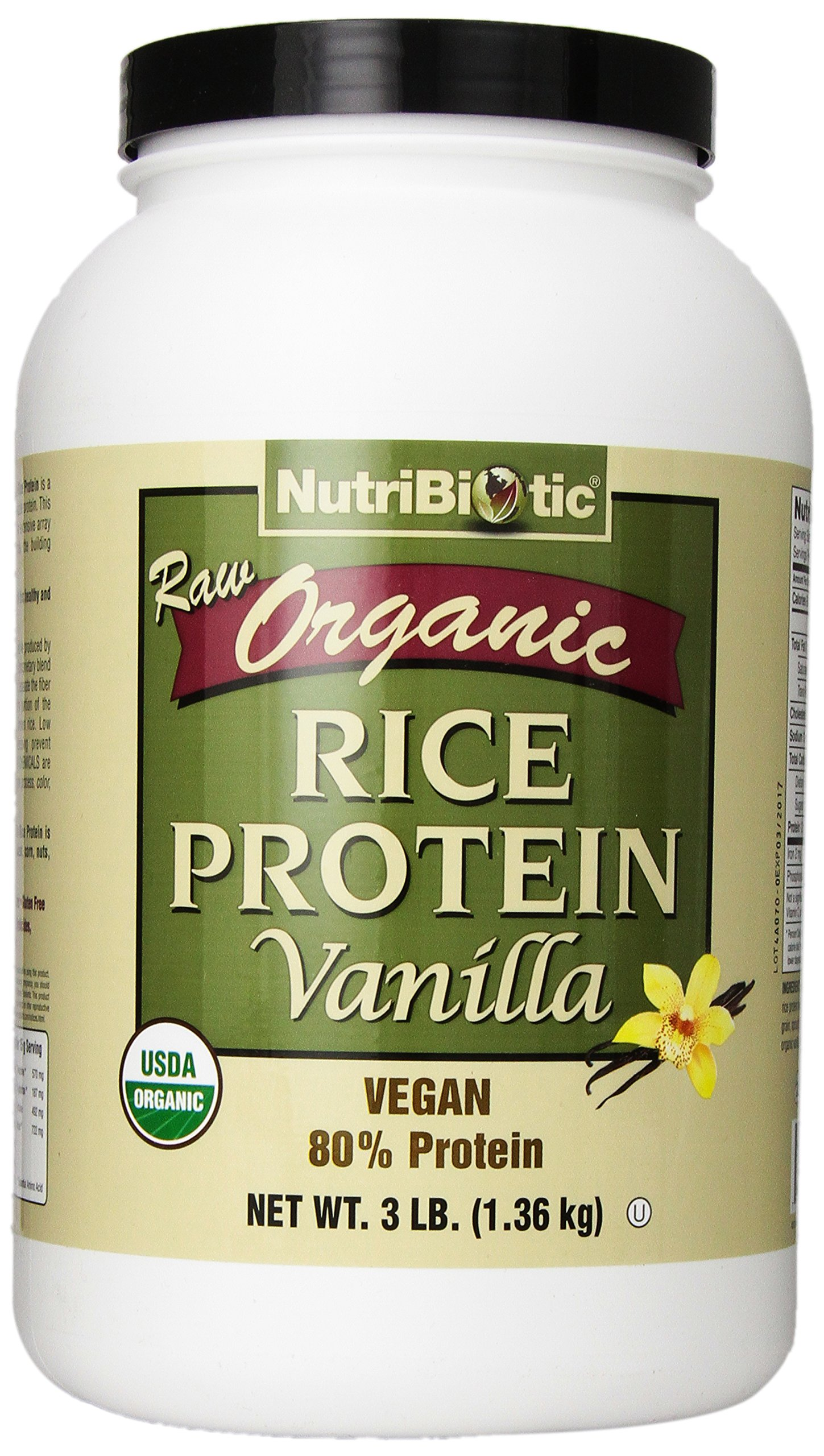 Nutribiotic Organic Rice Protein, Vanilla, 3 Pounds