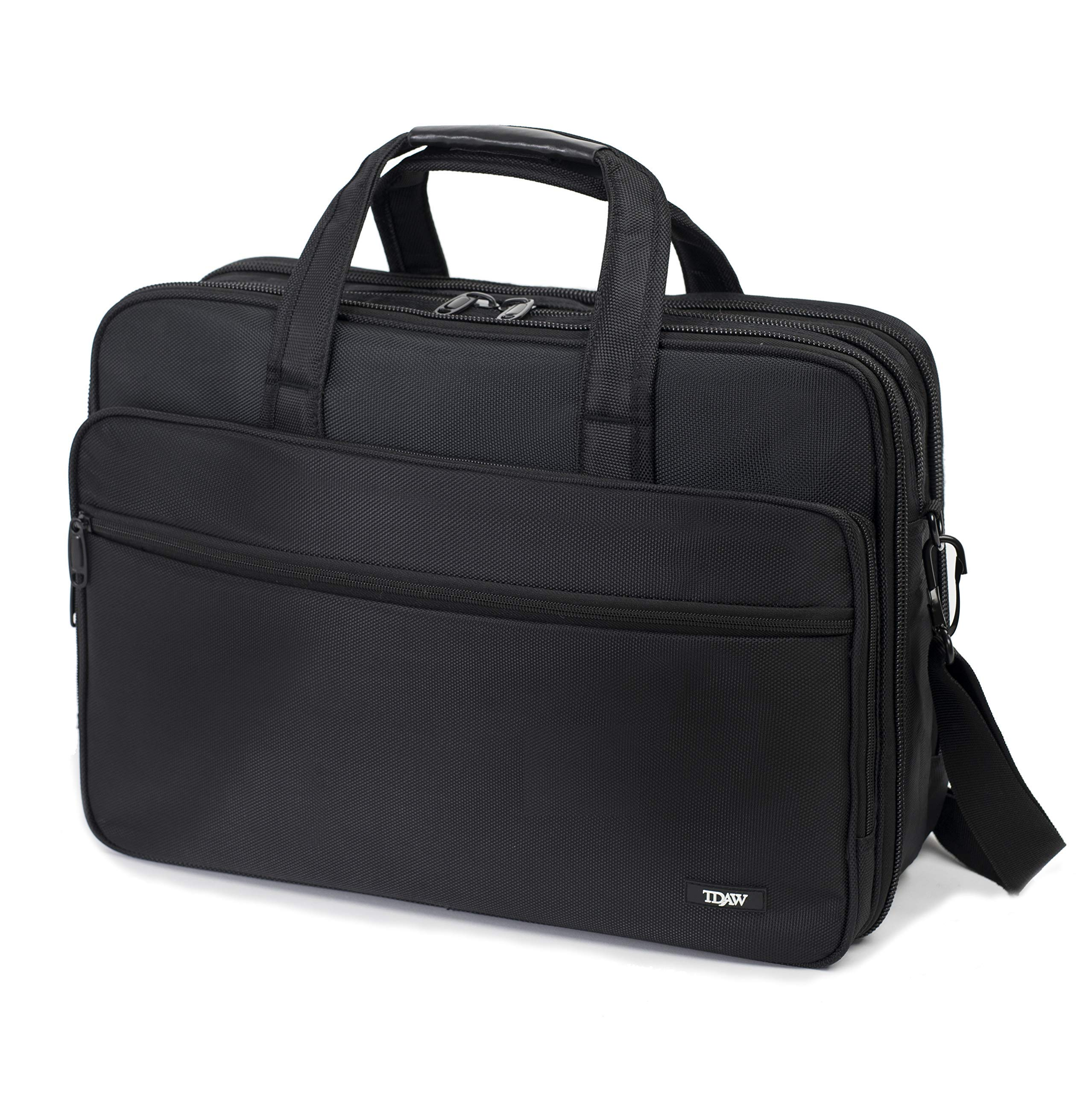 [tdaw] 17 inch Laptop Computer Bag, Laptop Case/Travel Briefcase or Messenger Bag/Expandable Large Size & Extra Strong Multifunctional & Water Resistant Bag for Men and Women