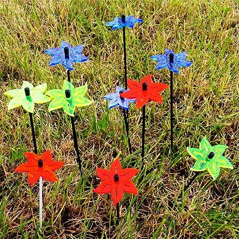 6 Stück SUNPLAY Sonnenfänger Ø20cm Suncatcher Gartenstecker Blumen Farbmix