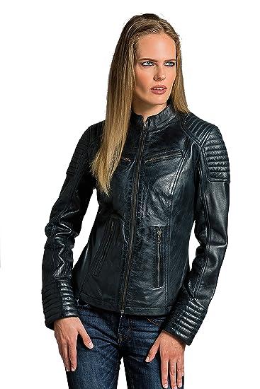 einzigartiges Design professionelle Website Luxus kaufen Coole Kurze Biker Damen Lederjacke LB01, Blau, Große : S