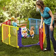 North States Superyard Colorplay Ultimate 6-Panel Play Yard: Safe Play Area Anywhere - Folds up with Carrying Strap for Easy Travel. Freestanding. 18.5 sq. ft. Enclosure (26  Tall, Multicolor)