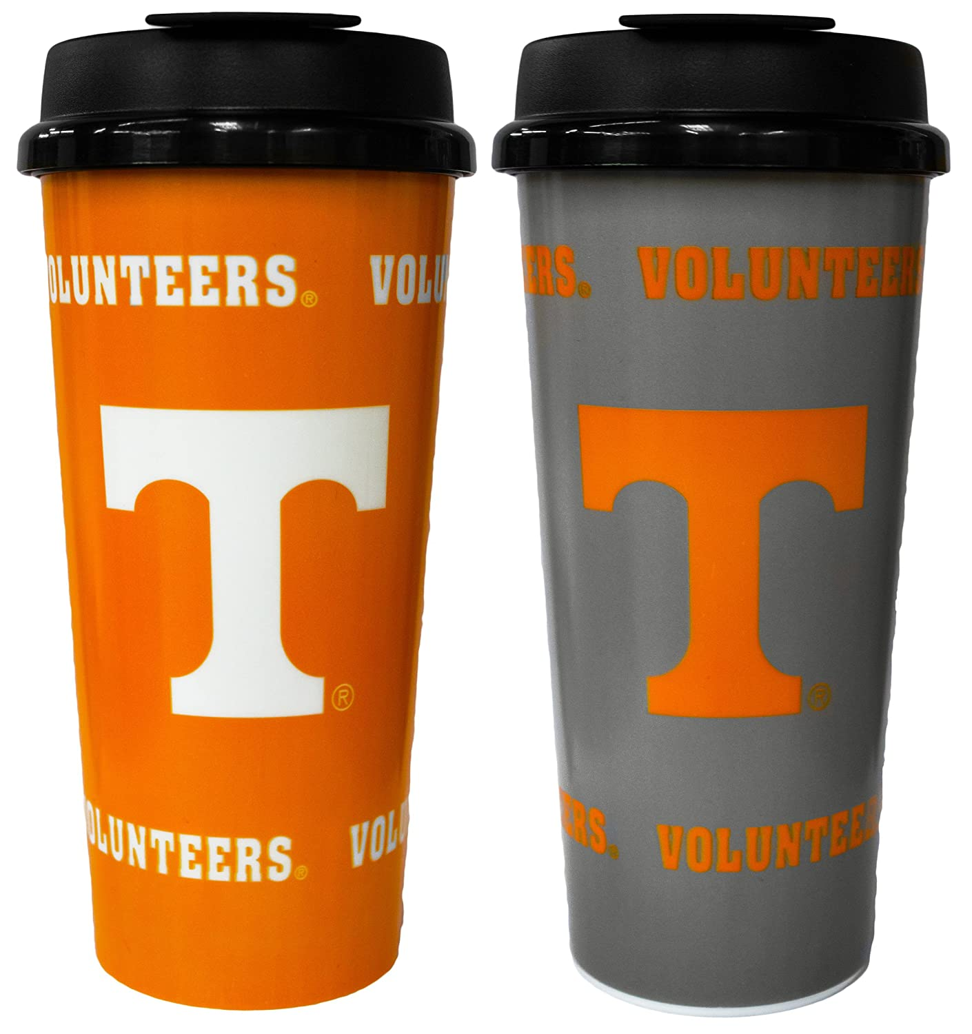 16 oz GameDay Novelty NCAA Tennessee Volunteers Insulated Travel Tumbler with No Spill Flip Lid 2 Pack