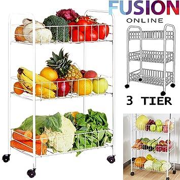 3 Tier estante de cocina carrito de almacenamiento blanco ruedas estante para verduras frutas carro UK: Amazon.es: Hogar