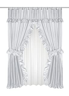 Carnation Home Fashions Fscd L 03 Lauren Double Swag Shower Curtain Grey