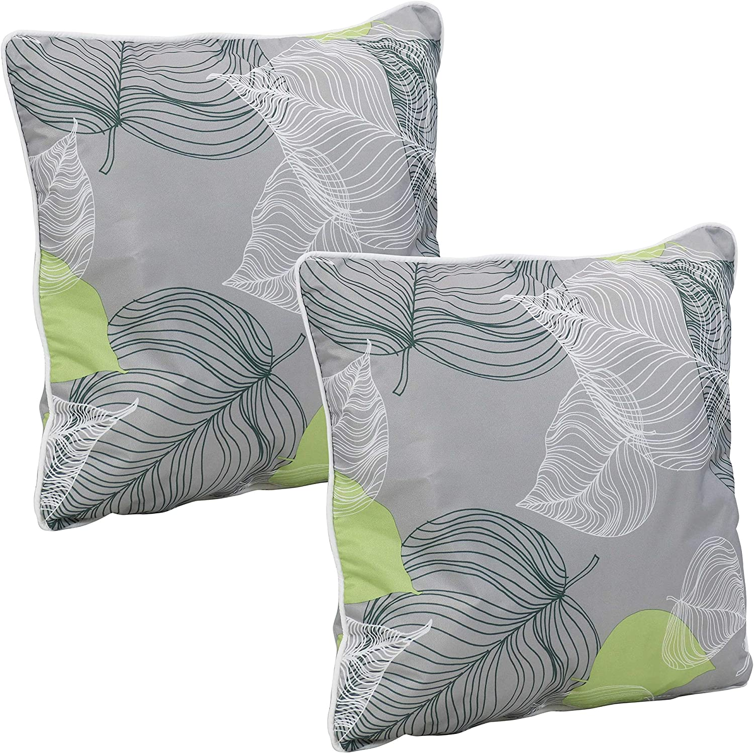 Sunnydaze Set of 2 Outdoor Decorative Throw Pillows - 16-Inch Square Accent Toss Pillows for Patio Furniture - Pillow Set for Outside Bench, Chair and Loveseat - Lush Foliage