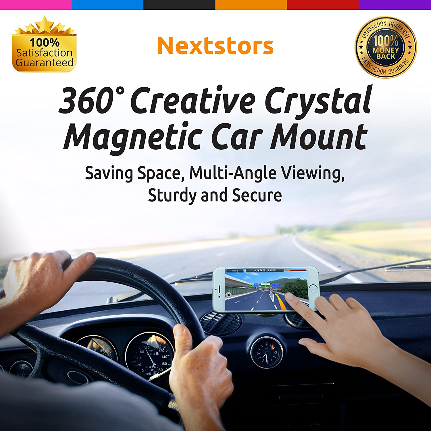 Adjustable 360 Degree Rotation from Dashboard Universal Car Mount Accessories Compatible with All Smartphones Cell Phone Devices 2019 Gift Red Nextstors Nextstors-2d Car Phone Holder Truck Bracket Magnetic GPS Holder