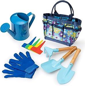 RUNIC Kids Gardening Set, Toddler Gardening Set, Kids Gardening Tools with Carrying Bag, Kids Watering Can and Toddler Gardening Gloves