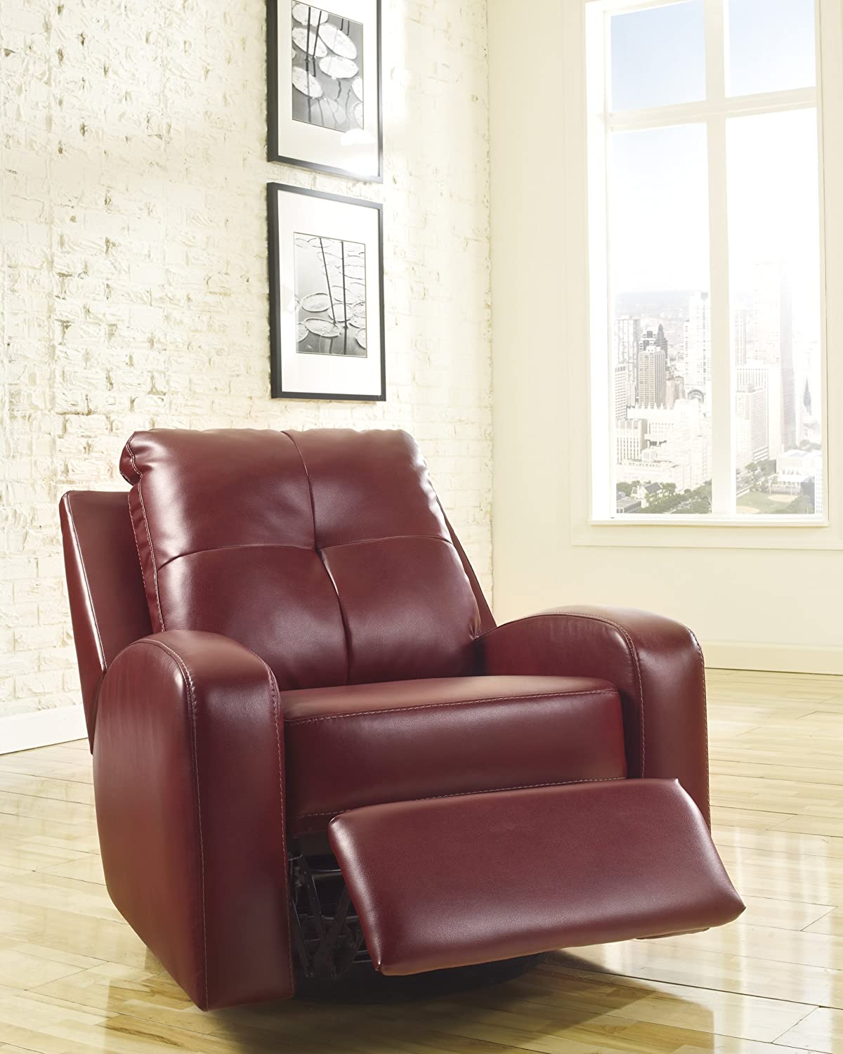 Amazon.com Ashley Furniture Signature Design - Mannix Swivel Recliner Chair - Manual Glider Reclining Motion - Red Kitchen u0026 Dining : red leather recliner - islam-shia.org