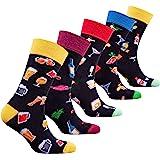socks n socks Hombres 5 pares Lujo Colorido Algodón Divertirse Guay Novedad Vestido Calcetines Caja de Regalo